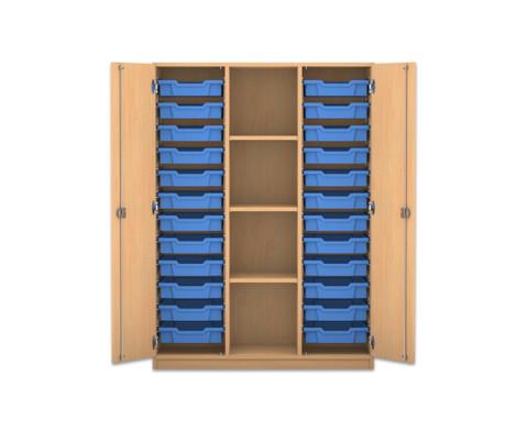 Flexeo Regalschrank PRO mit 3 Reihen 4 Faechern und 24 kleinen Boxen-1
