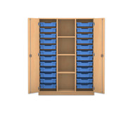 Flexeo Regalschrank PRO mit 3 Reihen, 4 Fächern und 24 kleinen Boxen