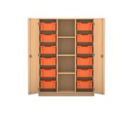 Flexeo Regalschrank PRO, 3 Reihen, 12 große Boxen, mittig 3 Fachböden, HxBxT: 143,9 x 108,5 x 50 cm