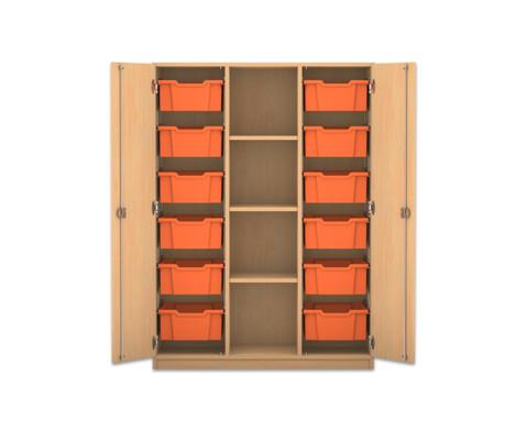 Flexeo Regalschrank PRO mit 3 Reihen 4 Faechern und 12 grossen Boxen