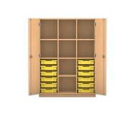Flexeo Regalschrank PRO, 3 Reihen, 12 kleine Boxen, 7 Fachböden, HxBxT: 143,9 x 108,5 x 50 cm