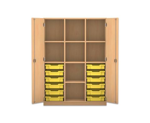 Flexeo Regalschrank PRO mit 3 Reihen 8 Faechern und 12 kleinen Boxen