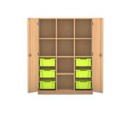 Flexeo Regalschrank PRO mit 3 Reihen, 8 Fächern und 6 großen Boxen