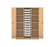 Flexeo Regalschrank PRO, 3 Reihen, 12 kleine Boxen, außen je 3 Fachböden, HxBxT: 143,9 x 108,5 x 48 cm