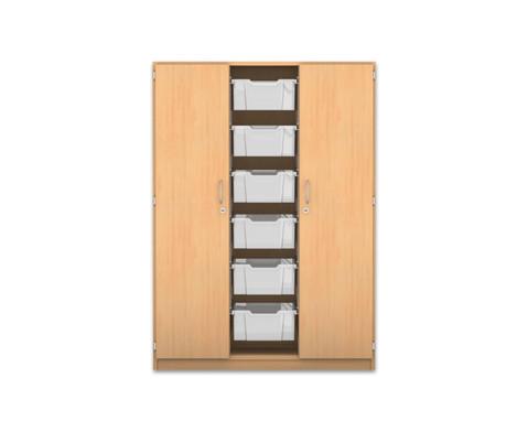 Flexeo Schrank mit 3 Reihen 8 Faechern 6 grossen Boxen und 2 Tueren