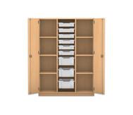 Flexeo Schrank PRO, 3 Reihen, 3 große Boxen, 6 kleine Boxen, außen je 3 Fachböden