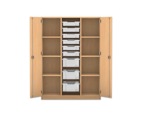 Flexeo Schrank mit 3 Reihen 8 Faechern 9 gemischten Boxen  2 Tueren-1