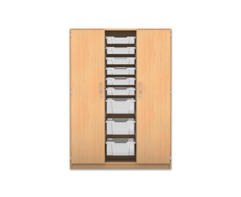Flexeo Schrank mit 3 Reihen 8 Faechern 9 gemischten Boxen  2 Tueren-2