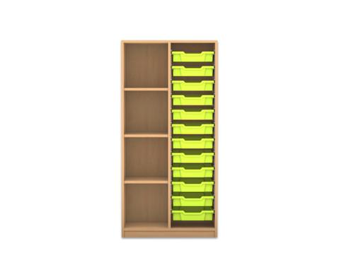 Flexeo Regal PRO 2 Reihen 12 kleine Boxen 3 Fachboeden links