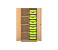 Flexeo Regalschrank PRO 2 Reihen 12 kleine Boxen rechts, links 3 Fachböden, HxBxT: 143,9 x 73,1 x 48 cm