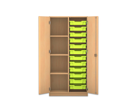 Flexeo Regalschrank PRO 2 Reihen 4 Faecher 12 kleinen Boxen rechts