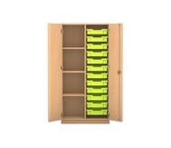 Flexeo Regalschrank PRO mit 2 Reihen, 4 Fächern und 12 kleinen Boxen rechts