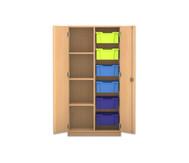 Flexeo Regalschrank PRO, 2 Reihen 6 große Boxen rechts, links 3 Fachböden, HxBxT: 143,9 x 73,1 x 48 cm