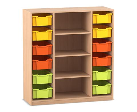 Flexeo Regal PRO 3 Reihen 12 grosse Boxen mittig 3 Fachboeden HxBxT 1439 x 134 x 48 cm