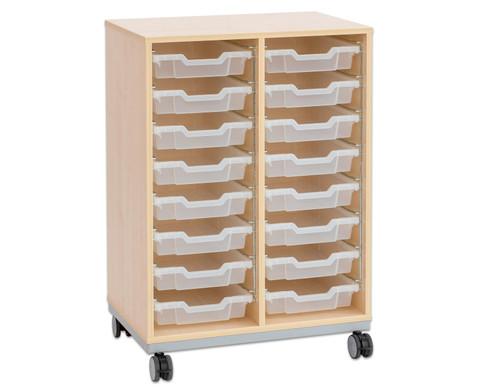 Flexeo Regal Pro mit Stahlrahmen 2 Reihen 16 kleine Boxen
