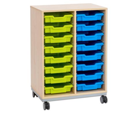 Flexeo Regal Pro mit Stahlrahmen 2 Reihen 16 kleine Boxen-8