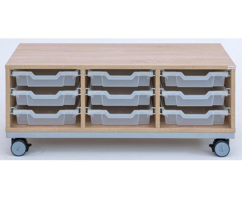 Flexeo Regal Pro mit Stahlrahmen 3 Reihen 9 kleine Boxen