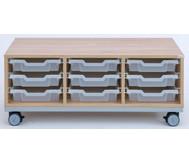 Flexeo Regal Pro mit Stahlrahmen, 3 Reihen, 9 kleine Boxen, HxBxT: 42,9 x 108,5 x 48 cm
