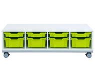 Flexeo Regal Pro mit Stahlrahmen, 4 Reihen, 4 kleine/4 große Boxen, HxBxT: 42,9 x 143,9 x 48cm