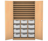 Flexeo Bastelschrank, 12 große Boxen, 7 Fachböden, HxBxT: 190 x 108,1 x 60 cm
