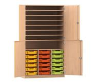 Flexeo Bastelschrank, 4 Halbtüren, 18 kleine Boxen, 7 Fachböden, HxBxT: 190 x 108,1 x 60 cm