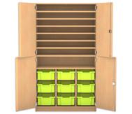 Flexeo Bastelschrank, 4 Halbtüren, 9 große Boxen, 7 Fachböden, HxBxT: 190 x 108,1 x 60 cm