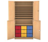 Flexeo Bastelschrank Julia, 7 Fachböden 9 große Boxen, HxBxT: 190 x 94,4 x 60 cm