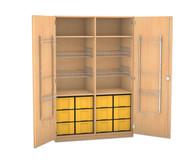 Flexeo Schubladen-Sportschrank, 4 Gitterkörbe, Türen mit Gerätehaken, 12 großen Schubladen