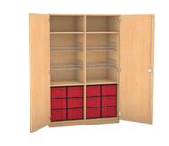 Flexeo Schubladen-Sportschrank, 4 Gitterkörbe, Türen ohne Gerätehaken, 12 große Schubladen