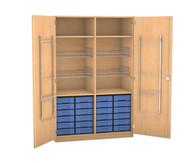 Flexeo Schubladen-Sportschrank, 4 Gitterkörbe, Türen mit Gerätehaken, 24 kleine Schubladen