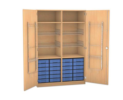 Flexeo Schubladen-Sportschrank mit Gitterkoerben und 24 kleinen Boxen-1