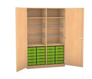 Flexeo Schubladen-Sportschrank, 4 Gitterkörbe, Türen ohne, 24 kleine Schubladen
