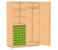 Flexeo Schubladen-Garderobenschrank, 4 Fachböden, 16 kleine Boxen, HxB: 190 x 126,4 cm