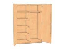 Flexeo Garderobenschrank mit Mittelwand, Garderobe rechts, 4 Fachböden links