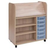 Flexeo Bücherwagen fahrbar mit 6 kleinen Boxen HxBxT: 106,5 x 94,4 x 48 cm
