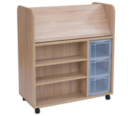 Flexeo Bücherwagen fahrbar mit 3 großen Boxen HxBxT: 106,5 x 94,4 x 48 cm