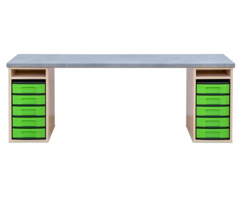 Flexeo Materialtisch mit 2 Regalen B x T 200 x 64 cm