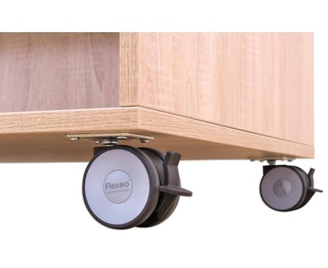 Flexeo Buecherwagen oben 1 Ablagefach beidseitig  je 1 Fachboden und 2 Schraegablagen-5