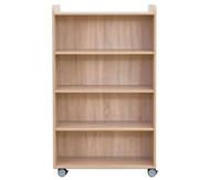 Flexeo Bücherwagen, oben 1 Ablagefach beidseitig  je 3 Fachböden