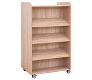 Flexeo Bücherwagen, oben 1 Ablagefach beidseitig  je 3 Schrägablagen