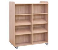 Flexeo Bücherwagen, oben 1 Ablagefach, Mittelwand beidiseitig  je 2 Fachböden und 4 Schrägablagen