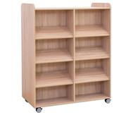 Flexeo Bücherwagen, oben 1 Ablagefach, Mittelwand beidiseitig 6 Schrägablagen