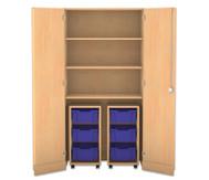 Flexeo Garagenschrank mit 3 Fächern, 2 Rollcontainern und 6 Boxen