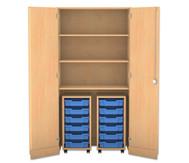 Flexeo Garagenschrank mit 3 Fächern, 2 Rollcontainern und 12 Boxen