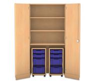 Flexeo Garagenschrank, 2 Rollcontainer mit je 2 kleinen und 2 großen Boxen, 3 Fachböden