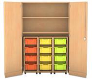 Flexeo Garagenschrank mit 2 Fächern, 3 Rollcontainern und 12 Boxen