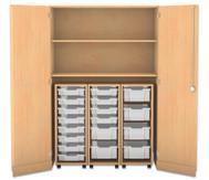 Flexeo Garagenschrank mit 2 Fächern, 3 Rollcontainern und 18 Boxen