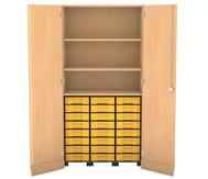 Flexeo Garagenschrank mit 3 Rollcontainern 24 kleine Boxen, 2 Fachböden, HxB: 190 x 94,4 cm