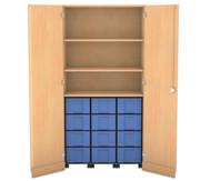 Flexeo Garagenschrank mit 3 Rollcontainern 12 große Boxen, 2 Fachböden, HxB: 190 x 94,4 cm