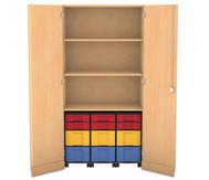 Flexeo Garagenschrank mit 3 Fächern, 3 Rollcontainern und 12 Boxen